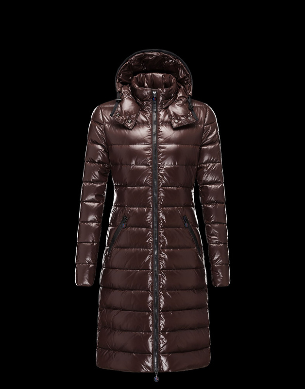 Cheap Moncler Long Coats For Women Brown MC1166 Sale